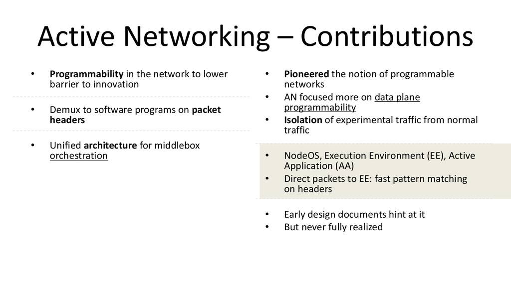 Active Networking – Contributions • Programmabi...