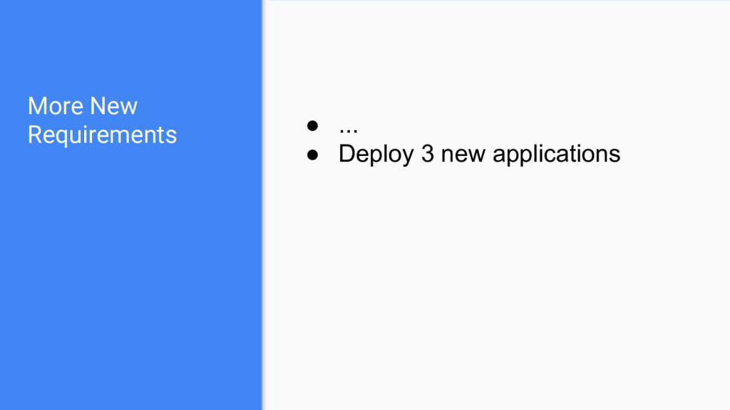 More New Requirements ● ... ● Deploy 3 new appl...