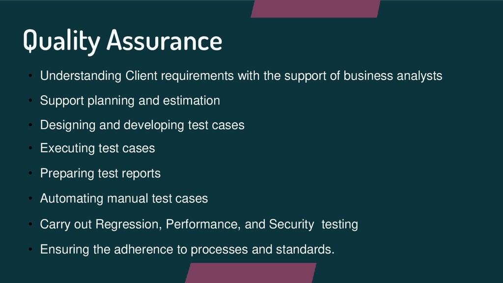 Quality Assurance • Understanding Client requir...