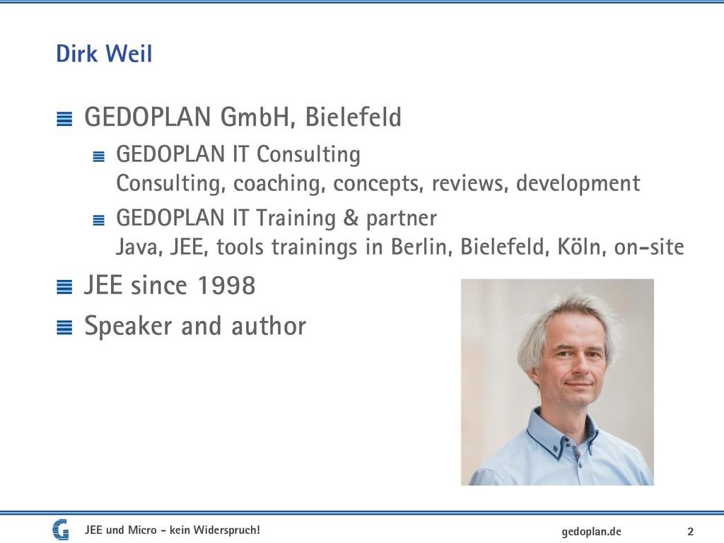 Dirk Weil GEDOPLAN GmbH, Bielefeld GEDOPLAN IT ...