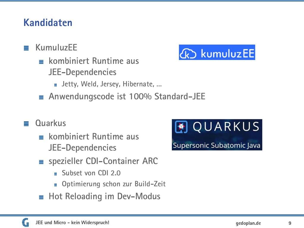 Kandidaten KumuluzEE kombiniert Runtime aus JEE...