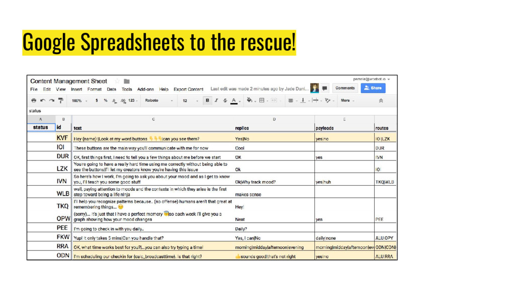 Google Spreadsheets to the rescue!