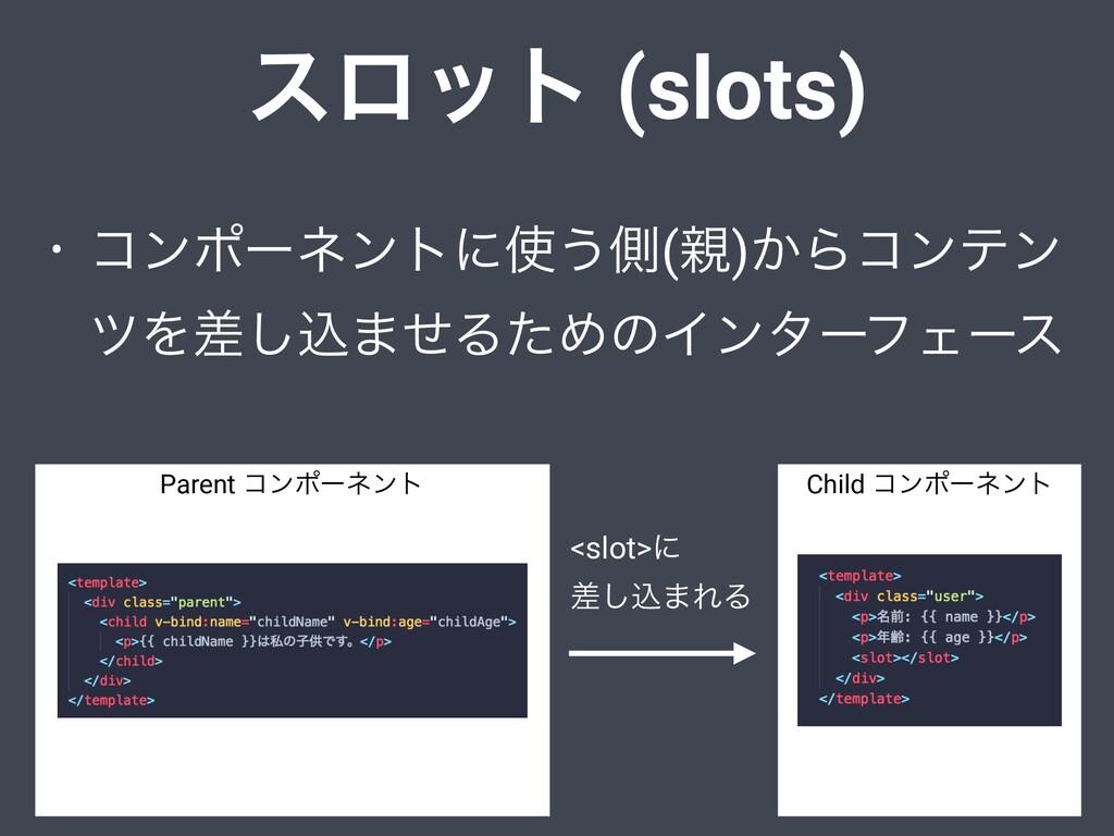 εϩοτ (slots) • ίϯϙʔωϯτʹ͏ଆ()͔Βίϯςϯ πΛࠩ͠ࠐ·ͤΔͨΊͷ...