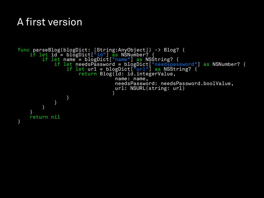 A first version func parseBlog(blogDict: [String...