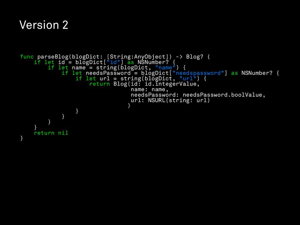 Version 2 func parseBlog(blogDict: [String:AnyO...