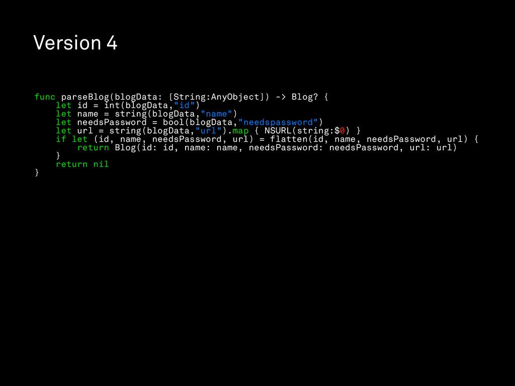 Version 4 func parseBlog(blogData: [String:AnyO...