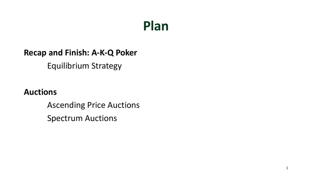 Plan Recap and Finish: A-K-Q Poker Equilibrium ...
