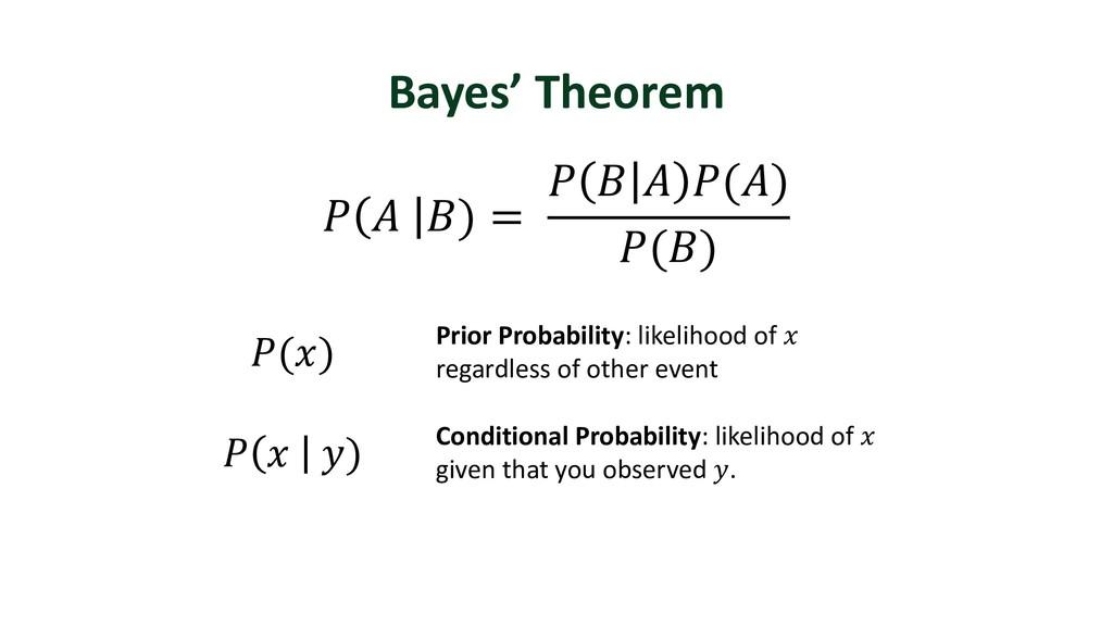Bayes' Theorem Prior Probability: likelihood of...