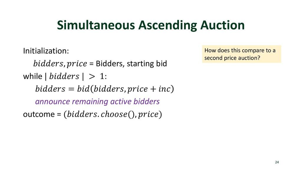 Simultaneous Ascending Auction Initialization: ...