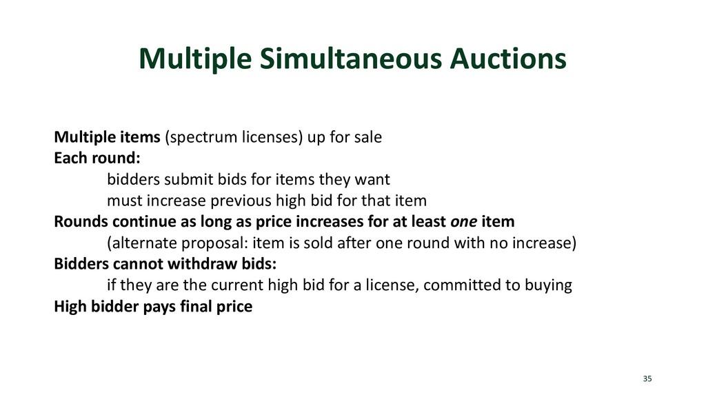 Multiple Simultaneous Auctions 35 Multiple item...