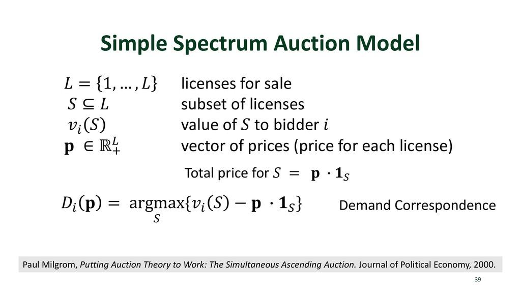 Simple Spectrum Auction Model 39  = 1, … ,  lic...