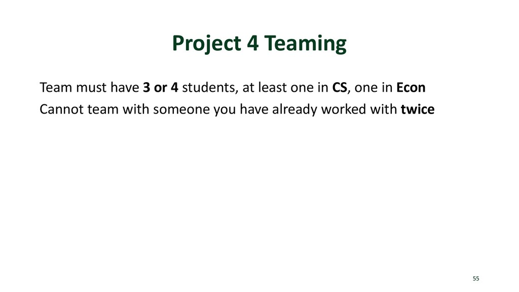 Project 4 Teaming Team must have 3 or 4 student...