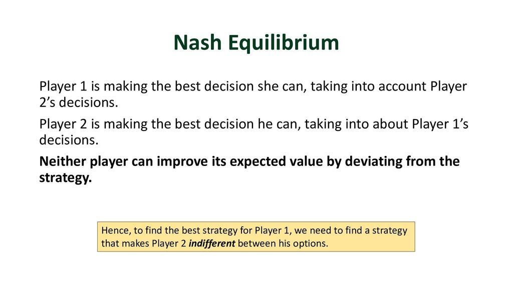 Nash Equilibrium Player 1 is making the best de...