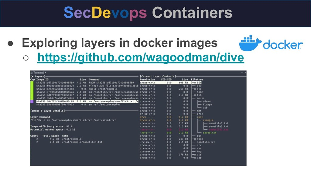 ● Exploring layers in docker images ○ https://g...