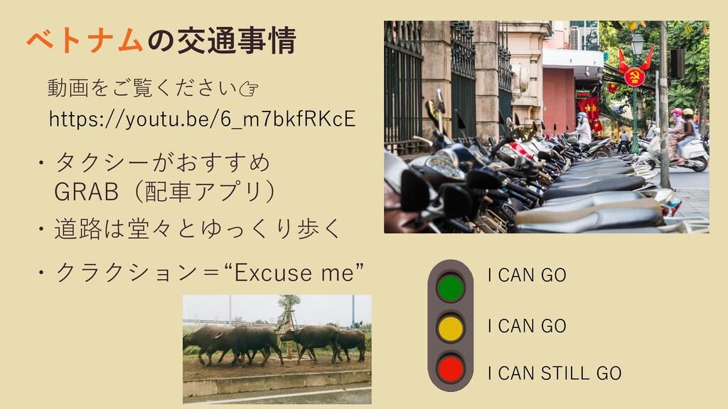 ベトナムの交通事情 動画をご覧ください ・タクシーがおすすめ GRAB(配車アプリ) ・道路は...
