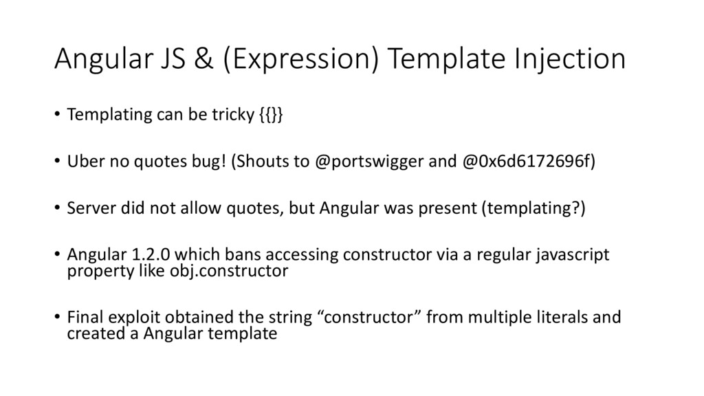 Angular JS & (Expression) Template Injection • ...