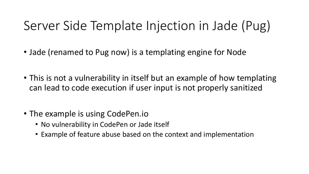Server Side Template Injection in Jade (Pug) • ...
