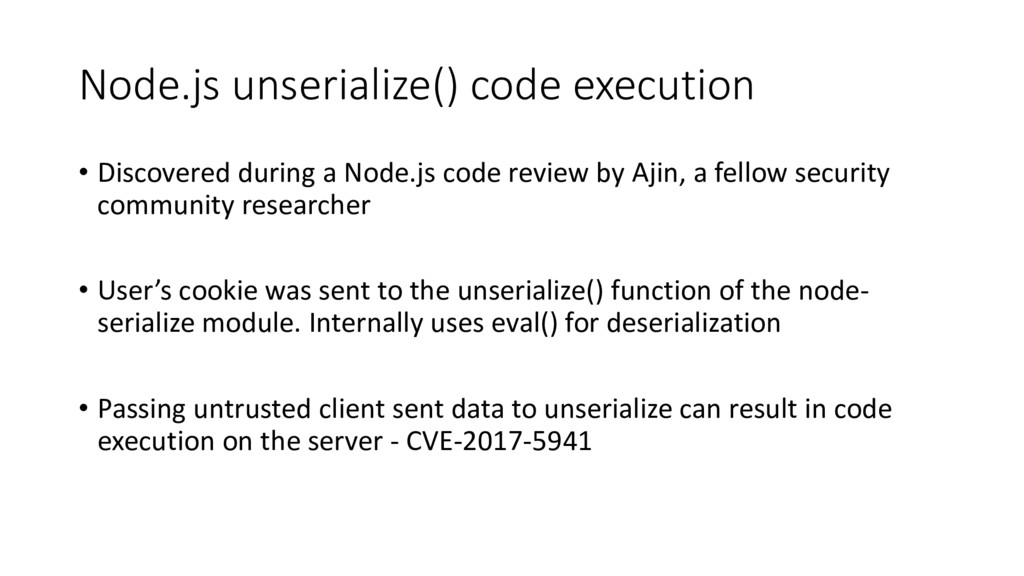 Node.js unserialize() code execution • Discover...