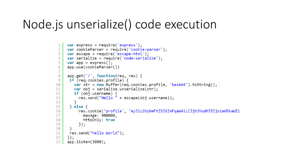 Node.js unserialize() code execution