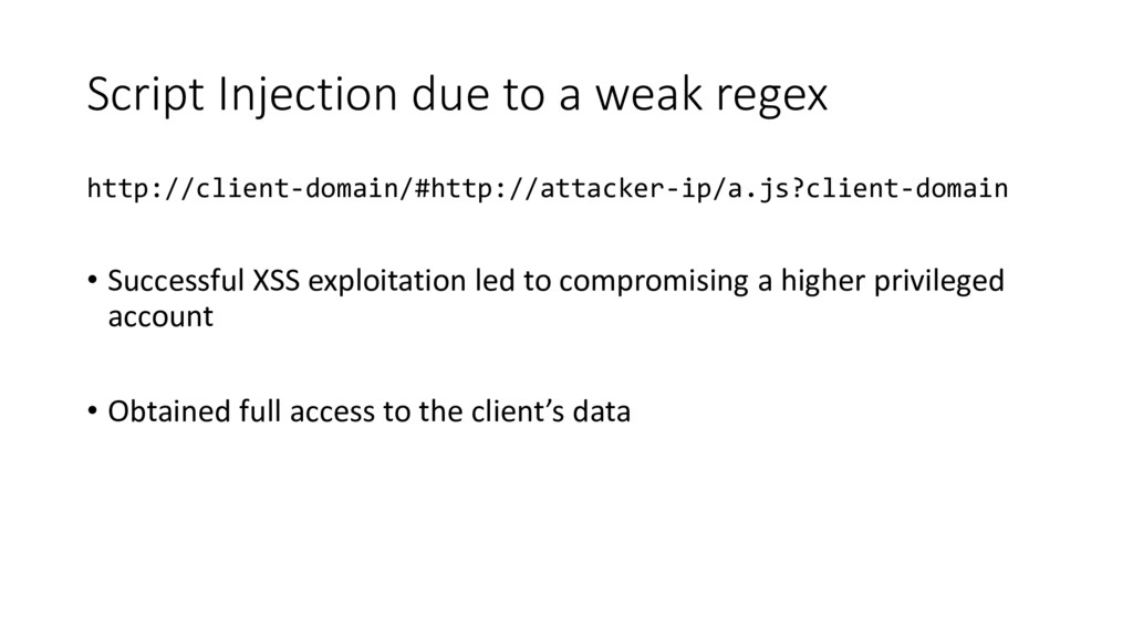 Script Injection due to a weak regex http://cli...