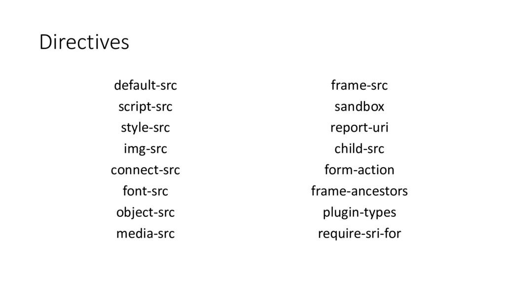 Directives default-src script-src style-src img...