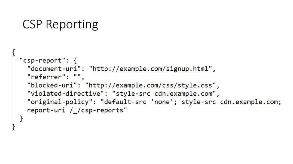 CSP Reporting