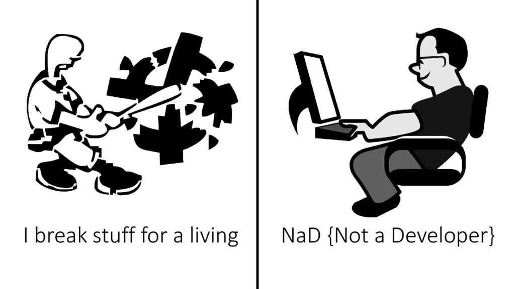 I break stuff for a living NaD {Not a Developer}