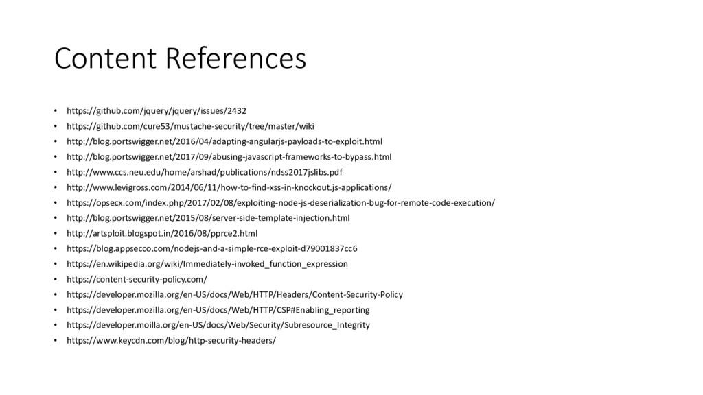 Content References • https://github.com/jquery/...