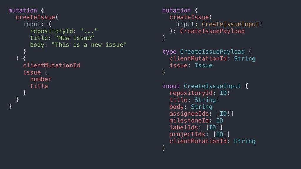 mutation { createIssue( input: CreateIssueInput...