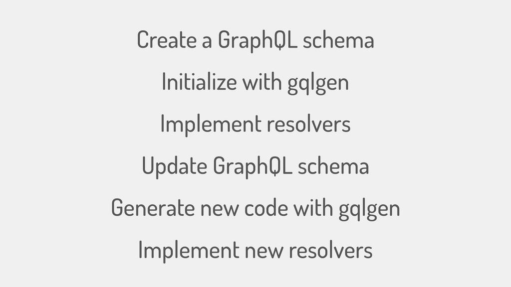 Create a GraphQL schema Initialize with gqlgen ...