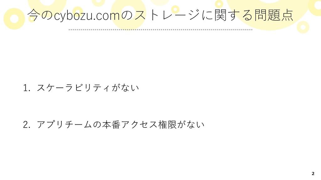 2 1. スケーラビリティがない 2. アプリチームの本番アクセス権限がない 今のcybozu...