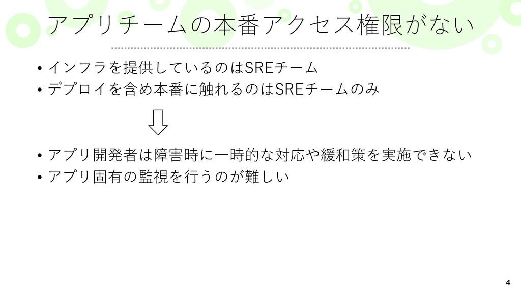 4 • インフラを提供しているのはSREチーム • デプロイを含め本番に触れるのはSREチーム...