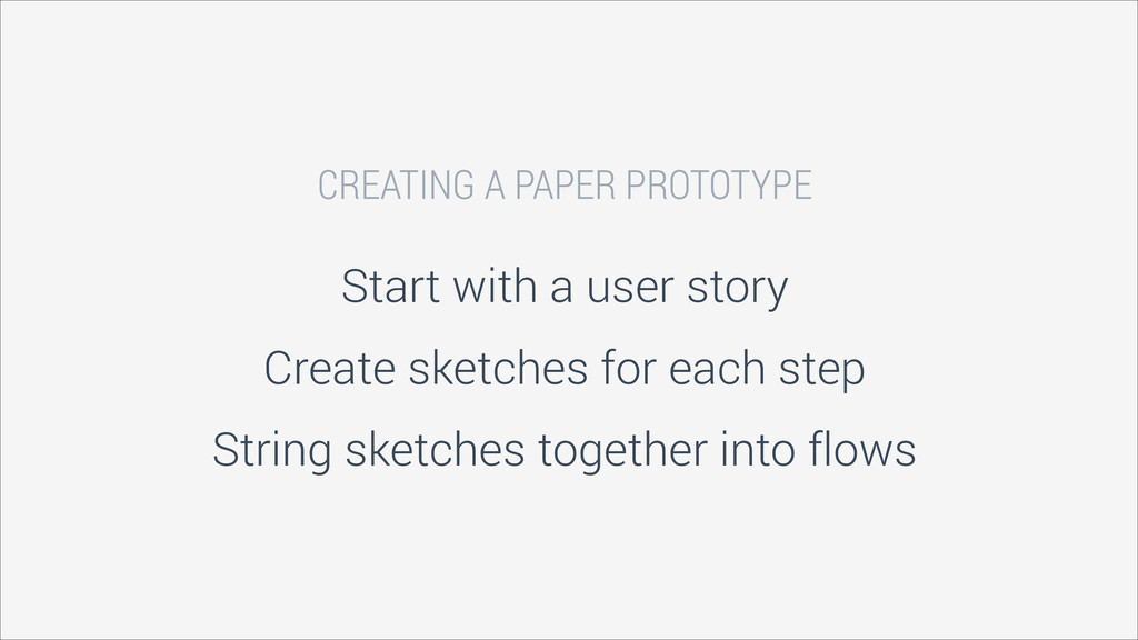 CREATING A PAPER PROTOTYPE Start with a user st...