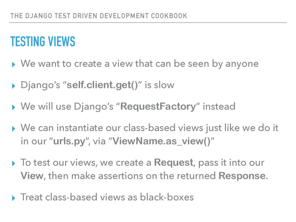 THE DJANGO TEST DRIVEN DEVELOPMENT COOKBOOK TES...