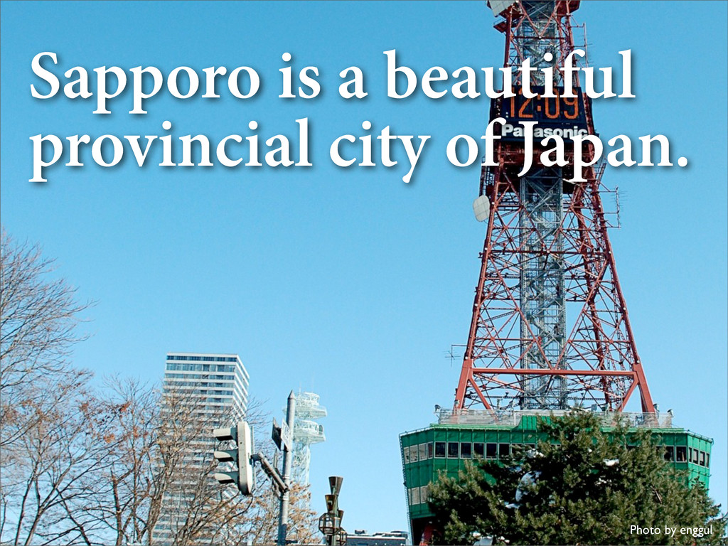 Sapporo is a beautiful provincial city of Japan...