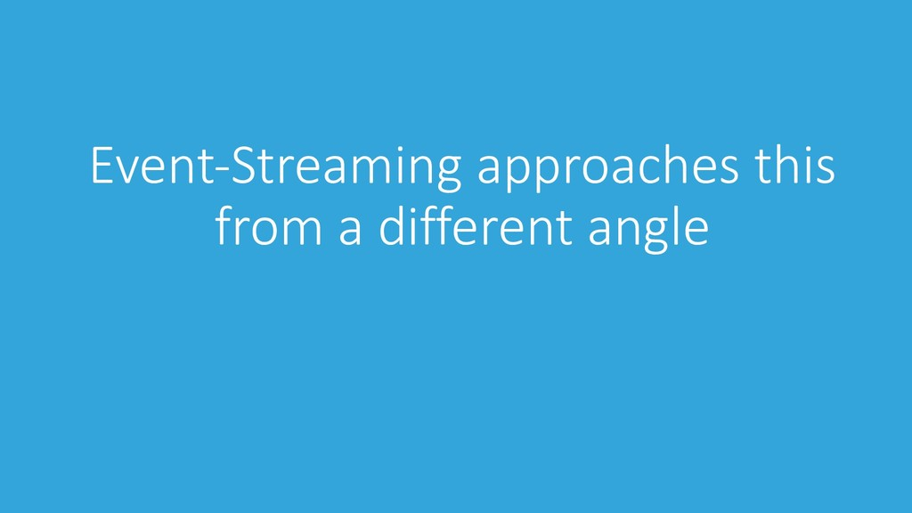 Event-Streaming approaches this from a differen...