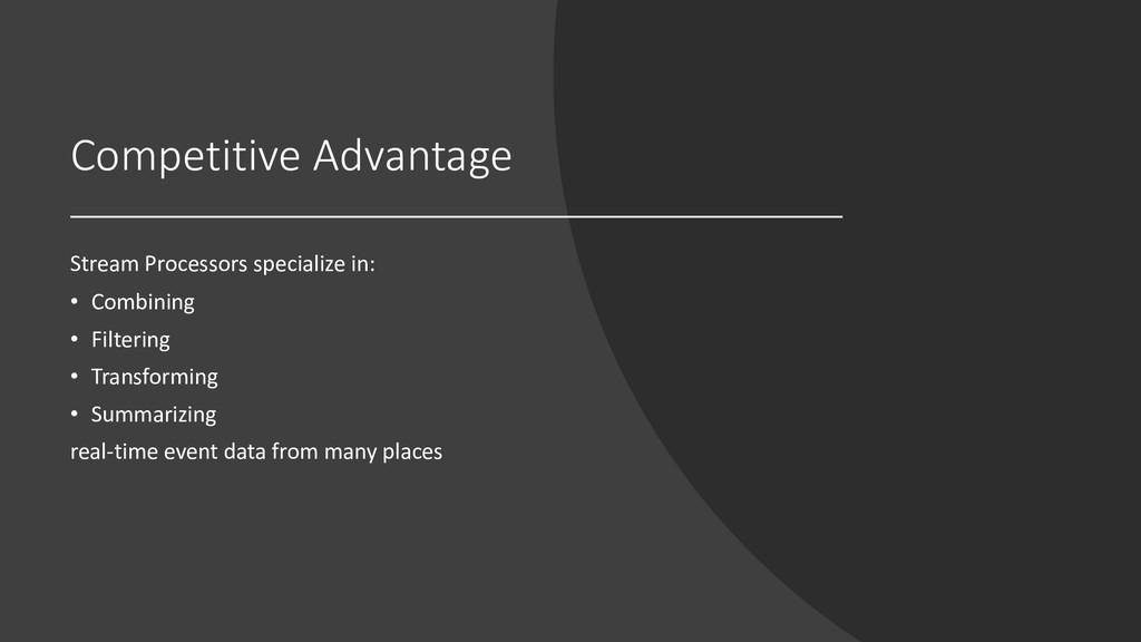 Competitive Advantage Stream Processors special...