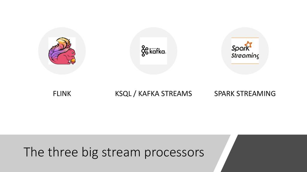 The three big stream processors FLINK KSQL / KA...