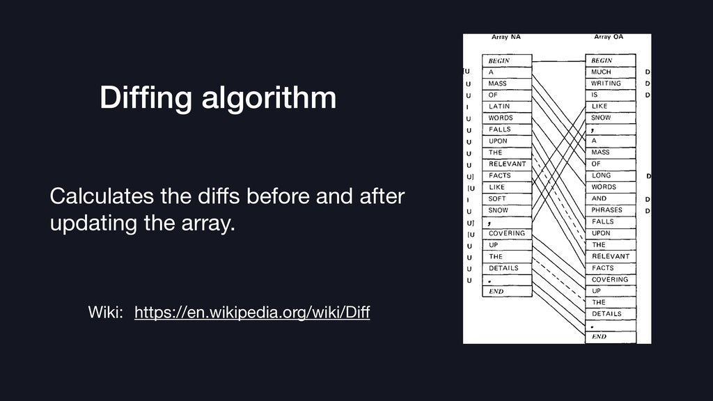 Diffing algorithm Calculates the diffs before and...