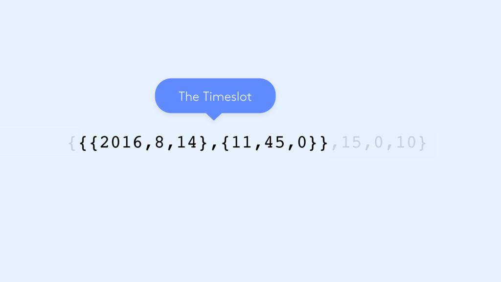 {{{2016,8,14},{11,45,0}},15,0,10} The Timeslot