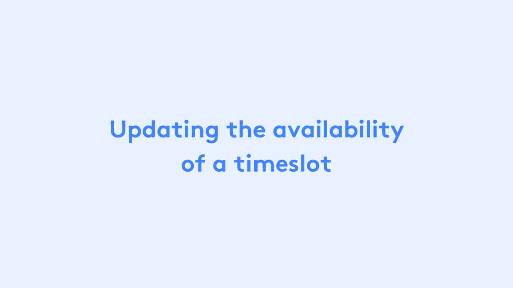 Updating the availability of a timeslot