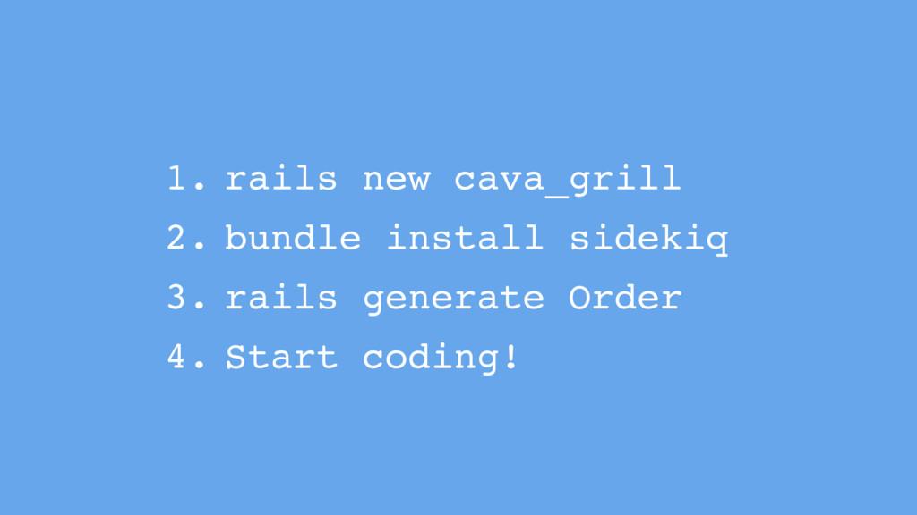 1. rails new cava_grill 2. bundle install sidek...