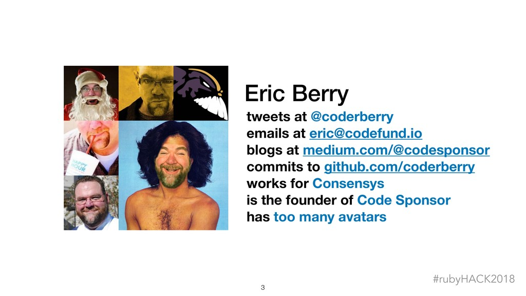 Eric Berry tweets at @coderberry emails at eric...