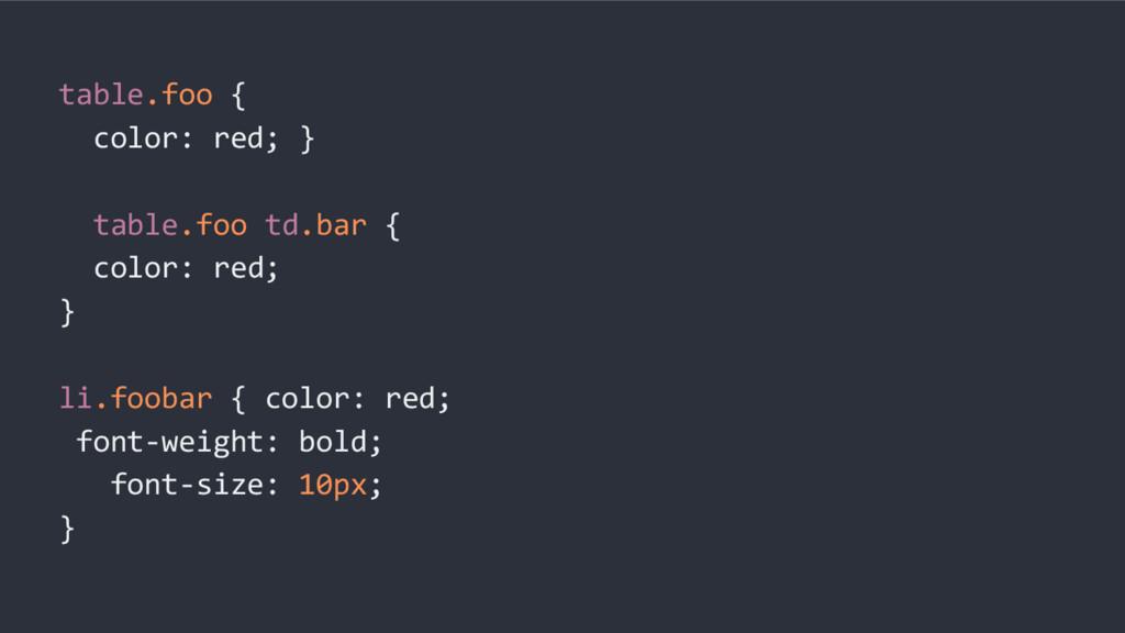 table.foo { color: red; } table.foo td.bar { co...