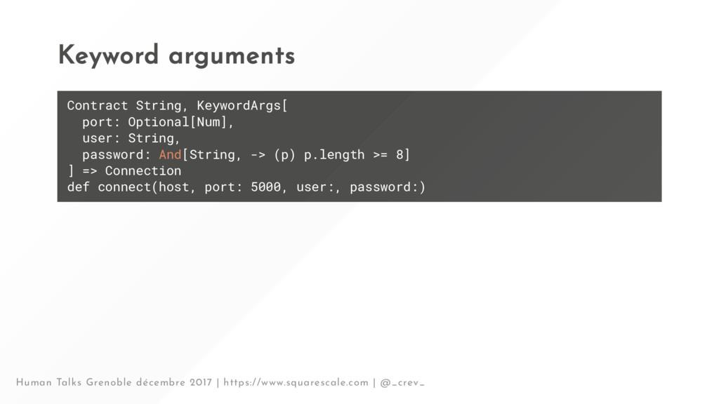 Keyword arguments Contract String, KeywordArgs[...