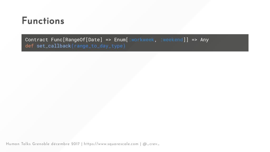 Functions Contract Func[RangeOf[Date] => Enum[:...