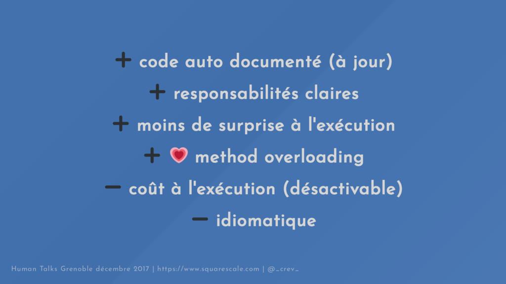 code auto documenté (à jour) responsabilités cl...