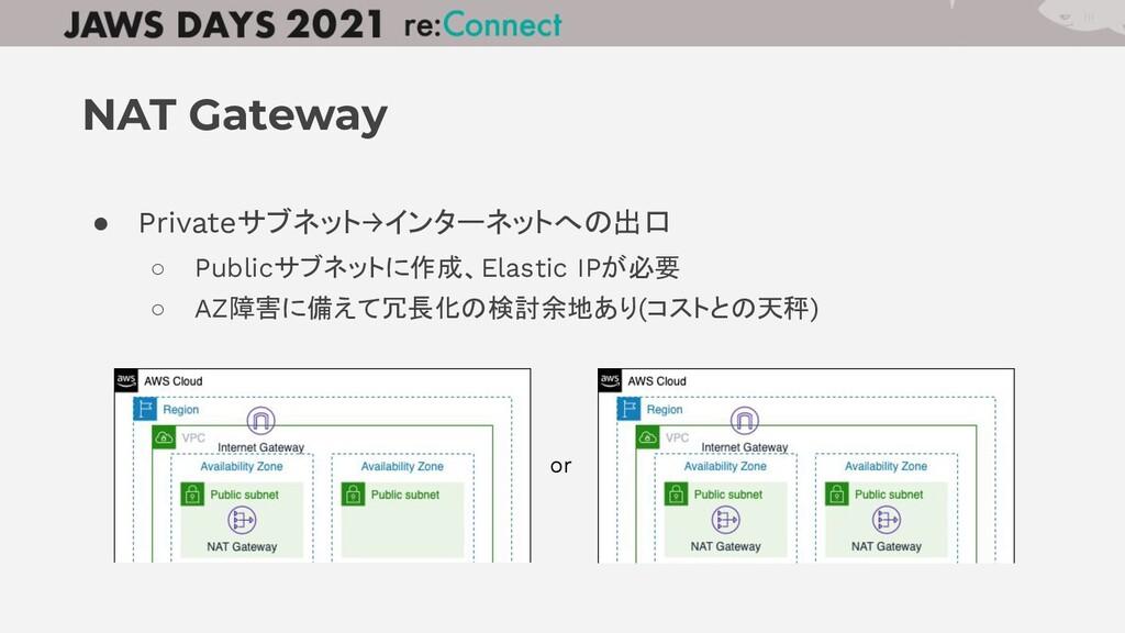 ● Privateサブネット→インターネットへの出口 ○ Publicサブネットに作成、Ela...