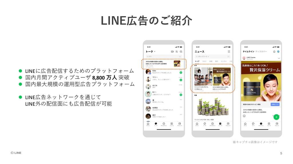 LINE広告のご紹介 ⚫ LINEに広告配信するためのプラットフォーム ⚫ 国内月間アクティブ...