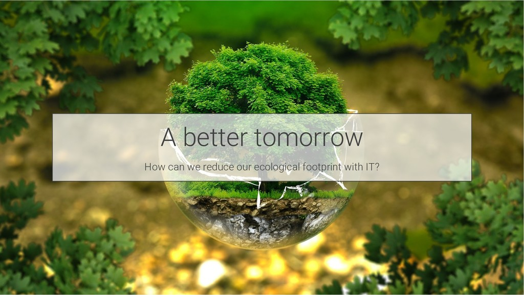 A better tomorrow How can we reduce our ecologi...